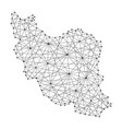 map of iran from polygonal black lines and dots vector image vector image
