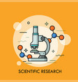 microscope surrounded by molecular structures vector image