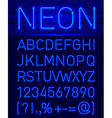 Neon font and symbols vector image vector image