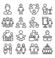office people icons set on white background line vector image vector image