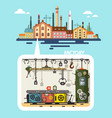 old factory - industrial flat design building and vector image vector image