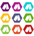 paintball sport badge icons set 9 vector image