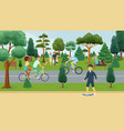 people relaxing in summer park outdoor activities vector image