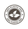 plastic free product icon - eco seal for non vector image vector image