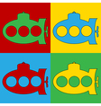 Pop art submarine icons vector image