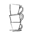 porcelain cup stack monochrome blurred silhouette vector image vector image