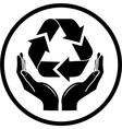 recycle symbol in hands icon vector image vector image