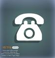 Retro telephone icon symbol on the blue-green vector image