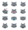 set of cute cartoon cat emotions vector image vector image