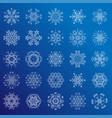 set of minimalistic line geometrical snowflakes vector image vector image