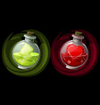 set potions in glass round bottles with icons vector image