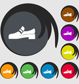 Shoe icon sign Symbols on eight colored buttons vector image
