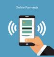 smartphone with processing of mobile payments vector image vector image