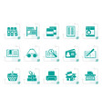 stylized library and books icons vector image vector image