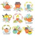Tea Ceremony Hand Drawn Emblems vector image