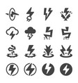 thunder icon set vector image
