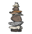 tower of balancing stones color sketch engraving vector image vector image