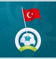 turkey flag pinned to a soccer ball european vector image vector image