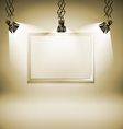 Wall with picture spotlight light spot frame vector image vector image