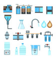water filtration flat icons vector image