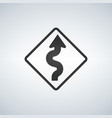 winding curve road sign vector image vector image