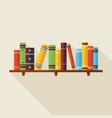 Flat Bookshelf Reading Books with Shadow vector image