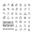 icons set - winter christmas holiday party vector image