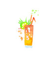 tropical cocktail colorful hand drawn watercolor vector image