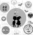 Round frame with Valentine elements vector image