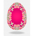 3d red red easter egg with a pattern of lilies and vector image