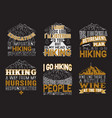 adventure quote set camping hiking set vector image vector image