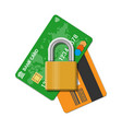 bank or credit card with pad lock vector image vector image