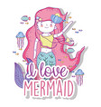 beauty mermaid woman with fishes and shells vector image vector image
