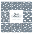 black and white hand drawn set of 8 vector image vector image
