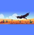 black eagle over desert landscape falcon or hawk vector image vector image