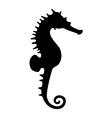 black seahorse silhouette vector image vector image