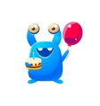 Blue Toy Monster Holding A Balloon And Cake vector image vector image