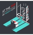 Businessman at the top of a night city in vector image vector image
