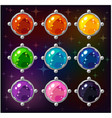 cartoon colorful circle gemstones vector image vector image