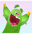 cartoon green fluffy monster vector image vector image