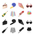 champagne fireworks and other accessories at the vector image vector image