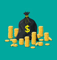 cloth bag with money golden coins stacks vector image vector image