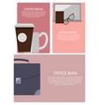 coffee break and office work vector image