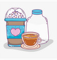 coffee time sketch flat design vector image vector image