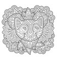 coloring book page with stylized cat face vector image vector image