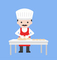 cute pastry chef making bread dough from flour on vector image
