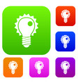 electric bulb set color collection vector image vector image