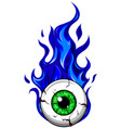 eyeball on fire - a cartoon a vector image