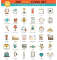 Finance flat line icon set Modern elegant vector image