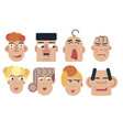 flat face icon set vector image vector image
